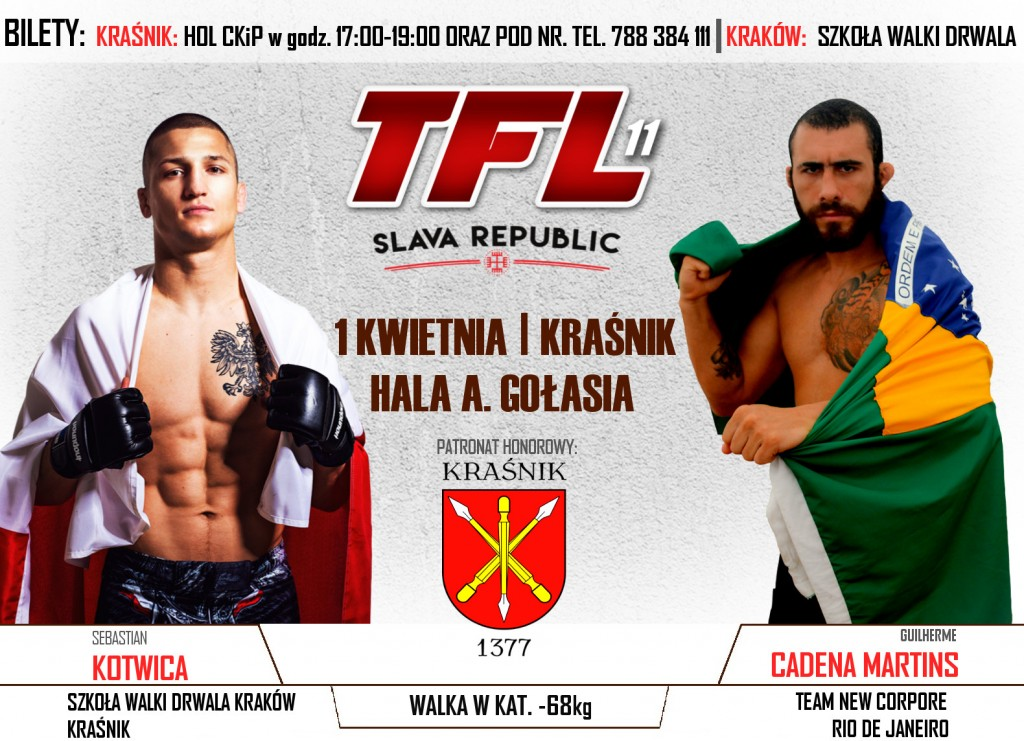 "Sebastian Kotwica vs Guilherme ""Warrior"" Cadena Martins, już 1 kwietnia na TFL 11: SLAVA REPUBLIC w Kraśniku!"